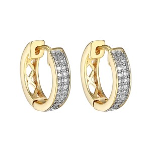 Other 18k Gold Plated Iced Out CZ Hoop Huggie Men Womens Hip Hop Earrings