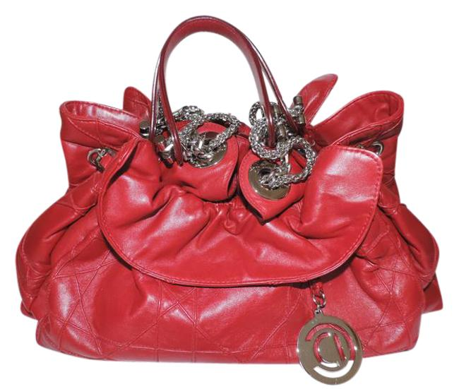 Item - Christian Trente Cannage Red Lambskin Leather Shoulder Bag