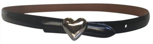 Moschino Moschino Black Leather Belt, Solid Silver Heart Buckle