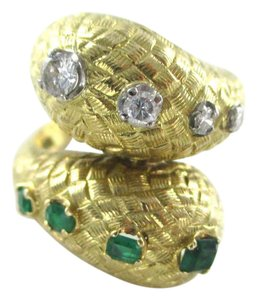 Other 18K YELLOW SOLID GOLD RING EMERALD 4 DIAMONDS .20 CARAT 11.6 GRAMS SZ