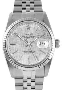 Rolex Stainless Steel Datejust Silver Dial 36mm Mens Watch