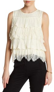 Ella Moss Lace Cream Tiered Top Ivory