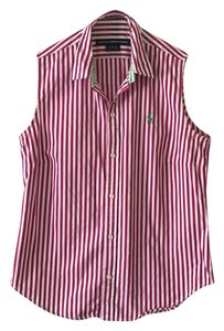 Ralph Lauren Button Down Shirt Fushia and White