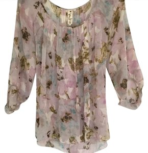 Anthropologie Top dusty pink floral print
