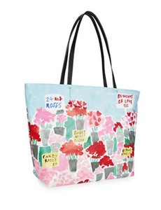 Kate Spade Down The Rabbit Hole Oops A Daisy Large Travel Tote in Frech Blue pebble