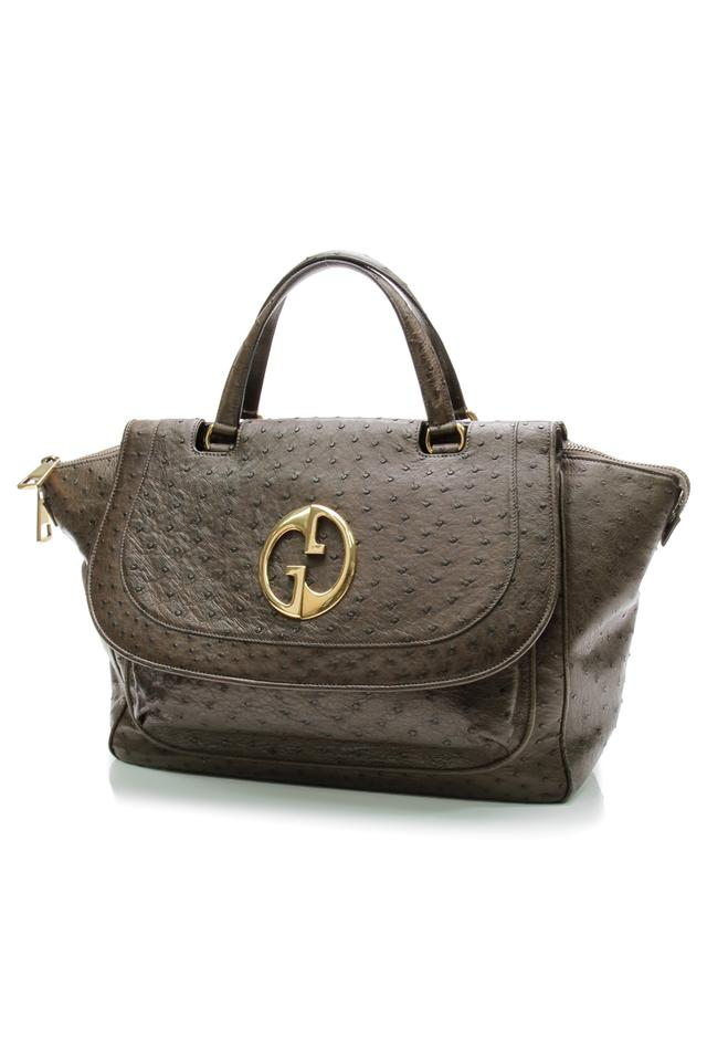 88ca70f643d Gucci 1973 Large Top Handle Tote Olive Ostrich Satchel - Tradesy