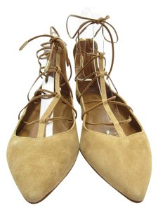 Aquazzura Lace Up Beige Flats