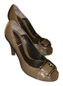 Fendi Patent Leather Peep Buckle Brown Pumps