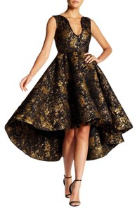 Issue New York Gold Ball Gown Prom Night Gown Gold And Black Hi Lo Dress