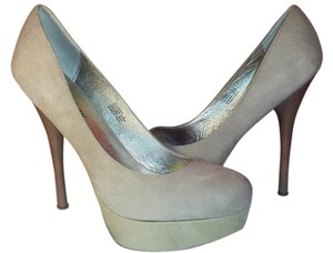 ZIGIny Heels Suede Leather Size 8 Stiletto beige Platforms