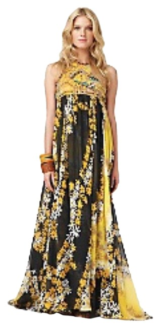 Item - Brown Yellow Multi Color Turquoise Blue Boho Bohemian Beach Dvf Crochet Long Formal Dress Size 2 (XS)