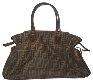 Fendi Tote in brown zucca canvas and brown leather