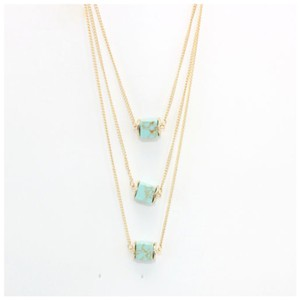 Other DF17 Mint Green Square Granite Layered Statement Gold Necklace