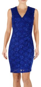 Connected Apparel Cocktail Mother Of The Bride Sequin Blue Stretch Dress