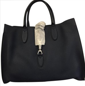Gucci Leather Jackie Soft Tote in Navy Blue