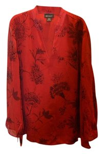 Lane Bryant Silk Flowers Sheer Romantic Top Red/Black