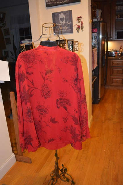 Lane Bryant Silk Flowers Sheer Romantic V-neck Top Red/Black