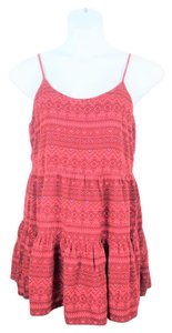 Mudd Aztec Babydoll Lace Up Top Red