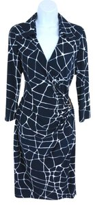 Jones New York Giraffe Navy Wrap Collar Print Dress