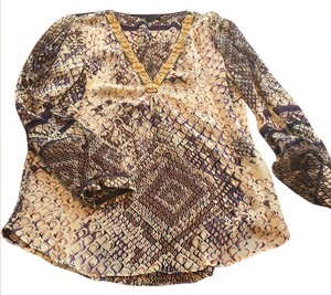 Hale Bob Top Silk exotic beaded animal print blouse