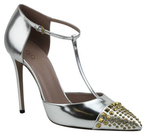 Gucci Women's Leather Studded Silver Pumps