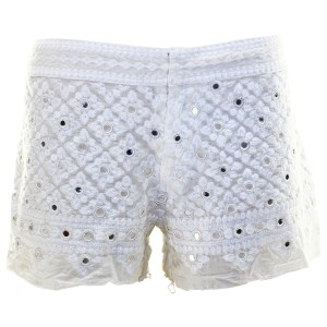 Free People Embroidered Mirrored Shorts White