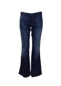 7 For All Mankind Fade Detail Whiskering Flare Leg Jeans-Dark Rinse
