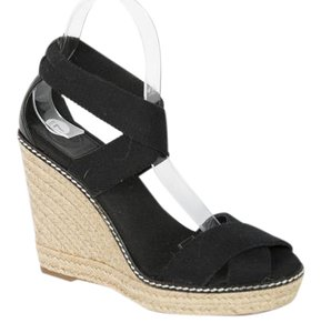 Tory Burch Canvas Black Wedges