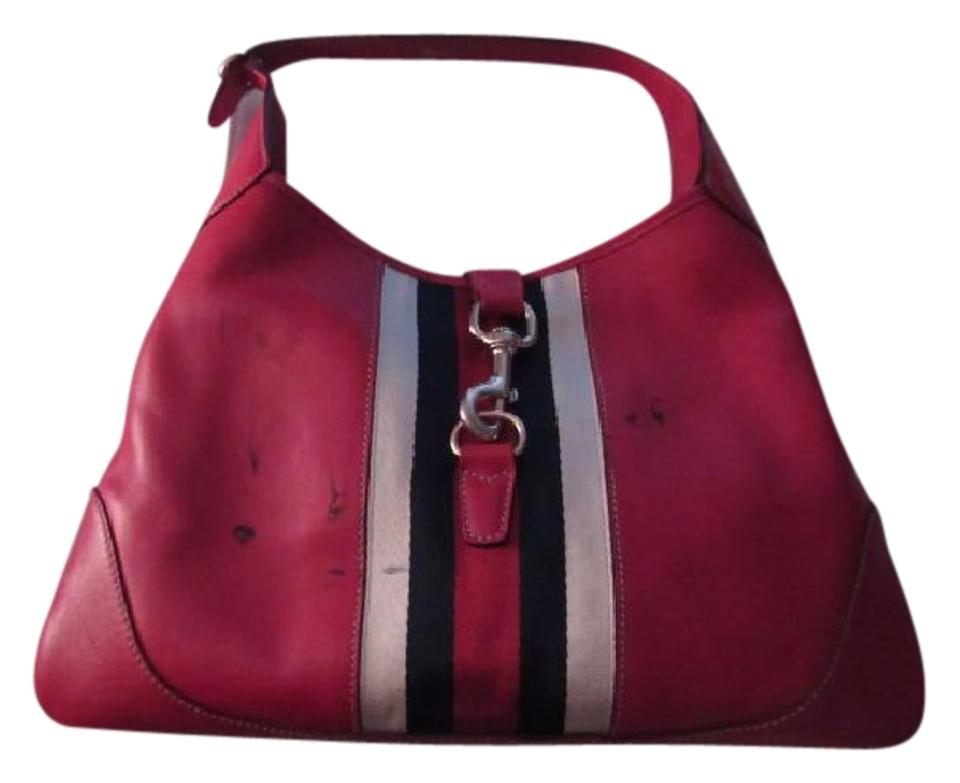9464233129814 Gucci Vintage Purses/Designer Purses Red Leather with Navy Red and White  Center Stripe Hobo Bag
