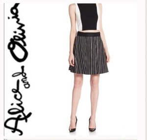 Alice + Olivia Mini Mini Skirt Black and white striped