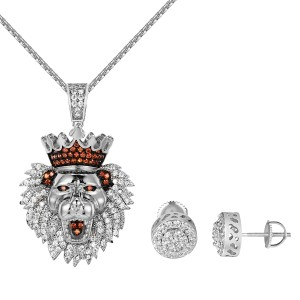 Other King Lion Iced Out Pendant Necklace Set Earrings Combo Set 14k Finish
