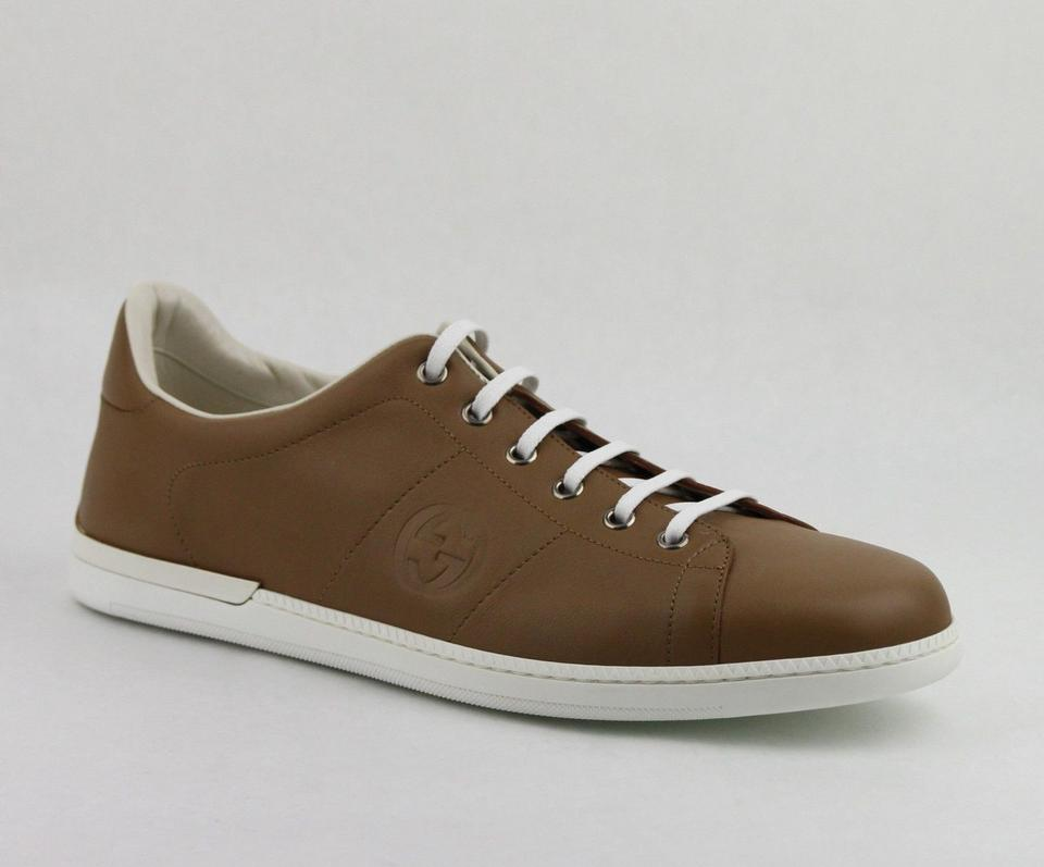 a65f4923403 Gucci Camel Brown Leather Lace-up Sneakers 10.5g   Us 11.5 329843 2309 Shoes