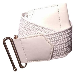 Other White Elastic Wide Belt W/Metal Gold Buckle Sz. M