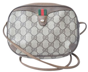 Gucci Canvas Monogram Logo Oval Small Cross Body Bag