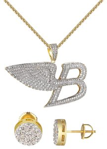 Other Luxury Car Logo B Charm Chain Angel Wings 14k Gold Finish Cluster Stud