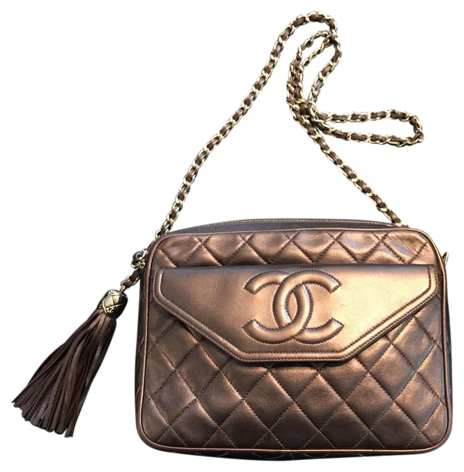 Chanel Camera Signature Cc Motif Bronze Quilted Calfskin Leather ... 6dfa767586ac1