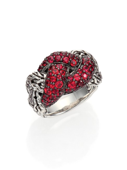 Item - Sterling Silver and Red Sapphire Rare Classic Chain Lava Small Braided Ring