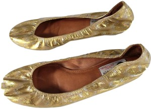 Lanvin Metallic Ruched Accents Leather Gold Flats