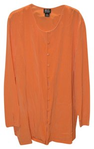 M.T. Morgan Taylor Studio Silk Button Down Feminine Button Down Shirt Orange
