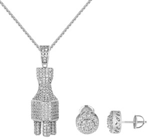 Other Iced Out Switch Plug Pendant Chain Simulated Diamond Halo Cluster Stud