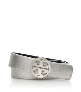 Tory Burch Reversible Belt metallic silver and navy Size medium