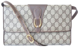 Gucci Clutch Removable Envelope Supreme Logo Cross Body Bag