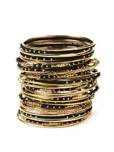Amrita Singh AMRITA SINGH New Marakesh Bangle Set Black Gold M or L