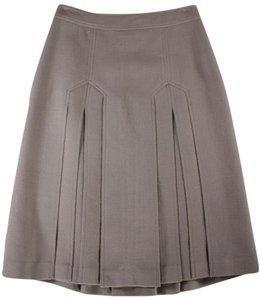 Burberry Wool Pleated Accents A-line Skirt Taupe