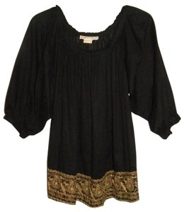 MICHAEL Michael Kors Cotton Peasant Romantic Boho Folk Top Black