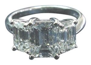 Tiffany & Co. Tiffany & Co Platinum 3-Stone Emerald Cut Diamond Ring 4.10CT