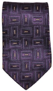 Ermenegildo Zegna Ermenegildo Zegna Purple Geometric Pattern All Silk Designer Necktie Tie Made In Italy Authentic