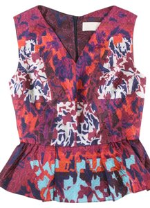 Peter Pilotto Emma Peplum Shirt Top Red / Orange / Purple / White
