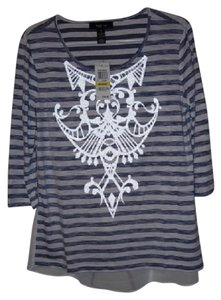 Style & Co T Shirt Blue and White