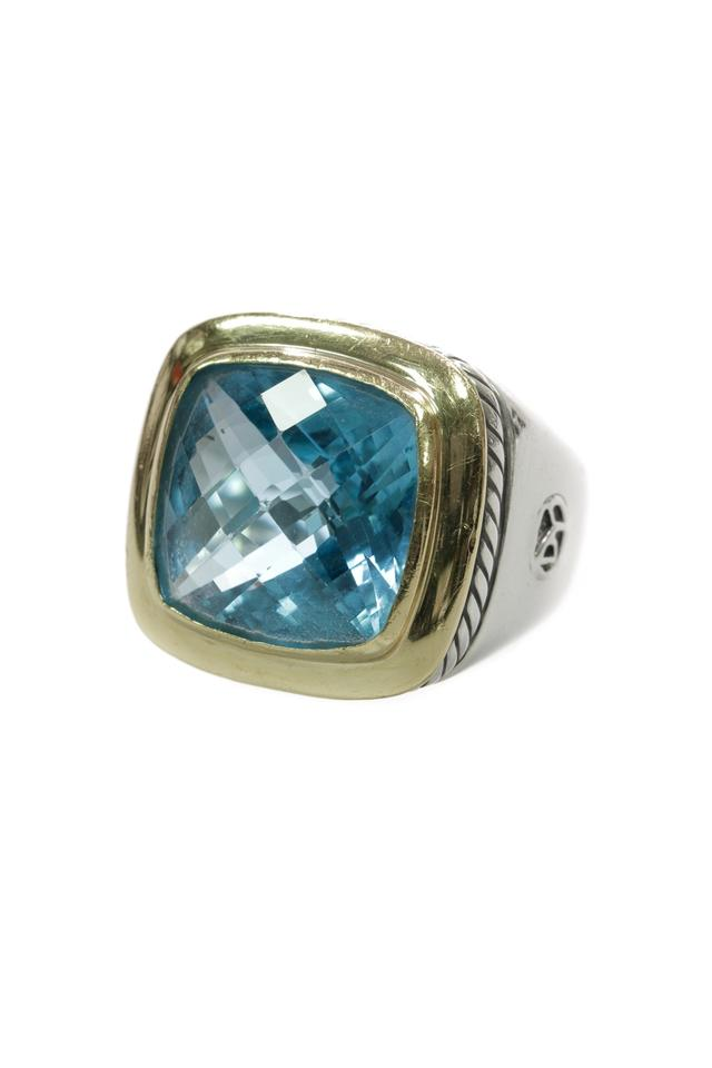 04c10c16d866 David Yurman David Yurman Sterling Silver   18K Gold 14mm Blue Topaz Albion  Ring Image 0 ...
